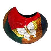 Cresent Vase – Abstract Metalic Butterfly