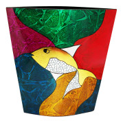 Flat Vase – Abstract Metalic Gold Fish