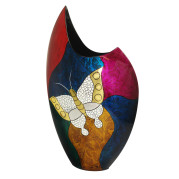 High Cresent Vase – Abstract Metalic Butterfly