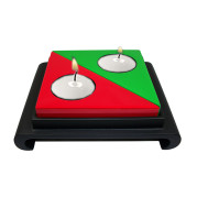 Lacquer Triangle Candle Holder – Red and Green
