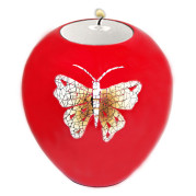 Lacquer Egg Shape Candle Holder Large – Eggshell Butterfly On Red