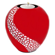 Lacquer Egg Shape Candle Holder Large – Crackle Mosaic On Red