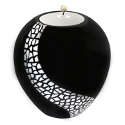 Lacquer Egg Shape Candle Holder Large – Crackle Mosaic On Black