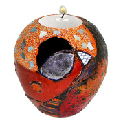 Lacquer Egg Shape Candle Holder Large – Abstract Bird