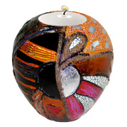 Lacquer Egg Shape Candle Holder Large – Abstract Sun