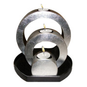 Set Of Ring Shape Lacquer Metalic Candle Holder – Metalic Silver