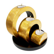 Set Of Ring Shape Lacquer Metalic Candle Holder – Metalic Gold