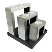 Set Of Square Shape Lacquer Metalic Candle Holder – Metalic Silver