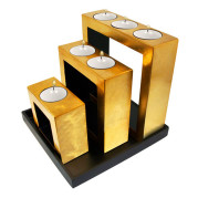 Set Of Square Shape Lacquer Metalic Candle Holder – Metalic Gold