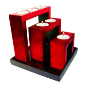 Set Of Square Shape Lacquer Metalic Candle Holder – Metalic Red