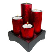 Set Of 4 Cylinder Lacquer Candle Holder – Metalic Red