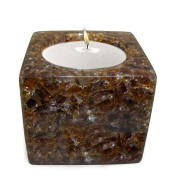 Cube Shape Poly Crystal Candle Holder – Chocolate
