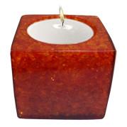 Cube Shape Poly Crystal Candle Holder – Orange Sunset