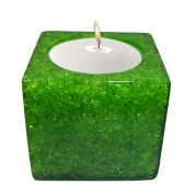 Cube Shape Poly Crystal Candle Holder – Emerald