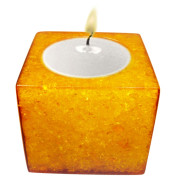 Cube Shape Poly Crystal Candle Holder – Yellow Topaz