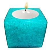 Cube Shape Poly Crystal Candle Holder – Aquamarine