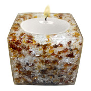 Cube Shape Poly Crystal Candle Holder – Cobblestone