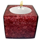 Cube Shape Poly Crystal Candle Holder – Grape