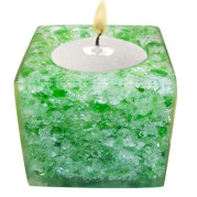 Cube Shape Poly Crystal Candle Holder – Jade