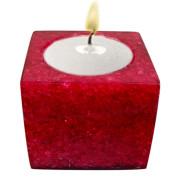 Cube Shape Poly Crystal Candle Holder – Burgandy