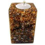 Rectangle Shape Poly Crystal Candle Holder – Chocolate