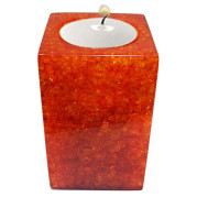 Rectangle Shape Poly Crystal Candle Holder – Orange Sunset