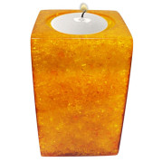 Rectangle Shape Poly Crystal Candle Holder – Yellow Topaz