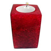 Rectangle Shape Poly Crystal Candle Holder – Burgandy