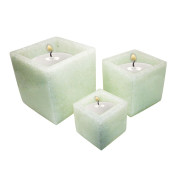 Set Of 3 Cube Shape Poly Crytal Candle Holder – Ice