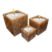Set Of 3 Cube Shape Poly Crytal Candle Holder – Chocolate