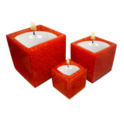 Set Of 3 Cube Shape Poly Crytal Candle Holder – Orange Sunset