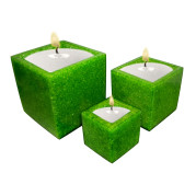 Set Of 3 Cube Shape Poly Crytal Candle Holder – Emerald