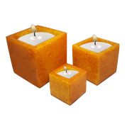 Set Of 3 Cube Shape Poly Crytal Candle Holder – Yellow Topaz