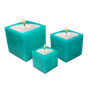 Set Of 3 Cube Shape Poly Crytal Candle Holder – Aquamarine