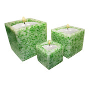 Set Of 3 Cube Shape Poly Crytal Candle Holder – Jade