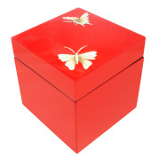 Square lacquer jewelry Box – EGGSHELL BUTTERFLY ON RED