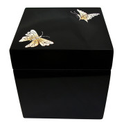 Square lacquer jewelry Box – EGGSHELL BUTTERFLY ON BLACK