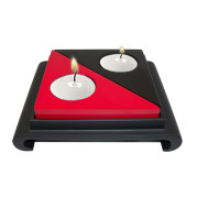 Lacquer Triangle Candle Holder – Red and Black