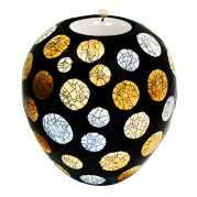 Lacquer Eggshell Candle Holder Medium – Crackle Mosaic On Red