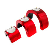 Set Of 3 Cresent Lacquer Candle Holder – Metalic Red