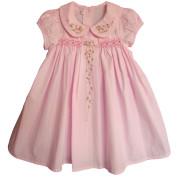 Pink climbing rose smocked dress