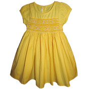 Yellow smocked dress with pink rose
